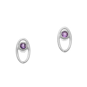 February Birthstone Silver Earrings CE352 Amethyst