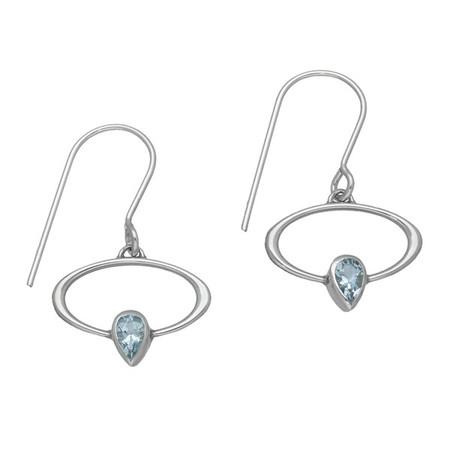 March Birthstone Silver Earrings CE355 Aquamarine