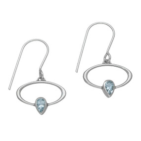 March Birthstone Silver Earrings CE355 Aquamarine