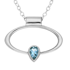 March Birthstone Silver Pendant CP303 Aquamarine