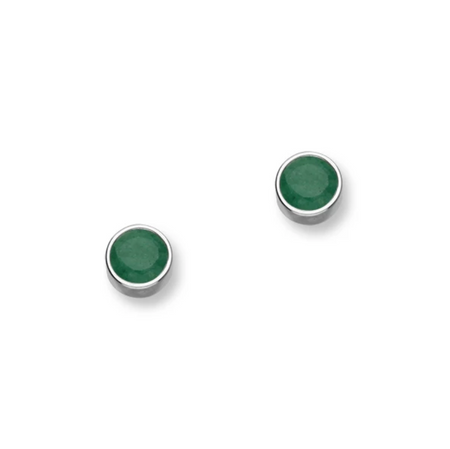 May Birthstone Silver Earrings CE356 Emerald