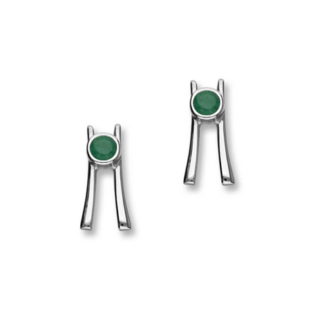 May Birthstone Silver Earrings CE406 Emerald