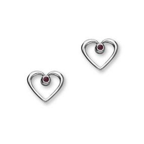 July Birthstone Silver Earrings CE358 Ruby
