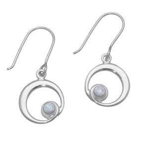 October Birthstone Silver Earrings SE373 White Opal