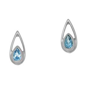 November Birthstone Silver Tear Drop Earrings CE382 Blue Topaz
