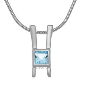 November Birthstone Silver Pendant CP337 Blue Topaz