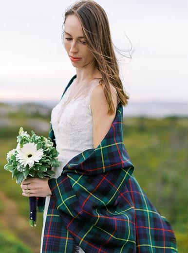Tartan shawl for wedding