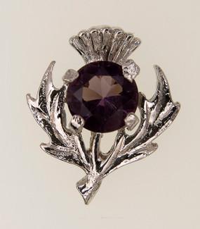 Dark Amethyst Thistle Brooch