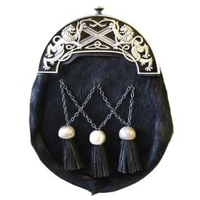 Dress Sporran Highland Saltire - Black Enamel
