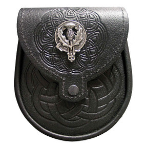 Day Sporran Clan Crest - Black Leather