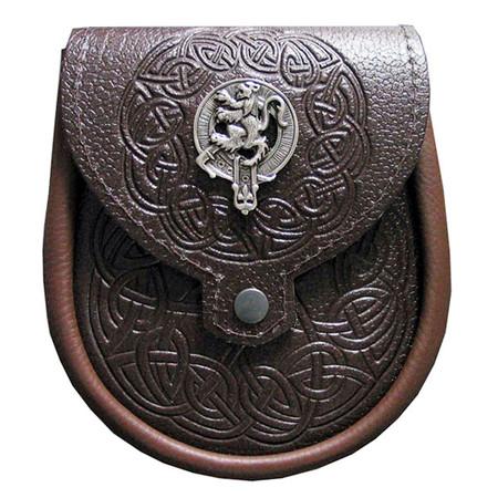 Day Sporran Clan Crest - Brown Leather