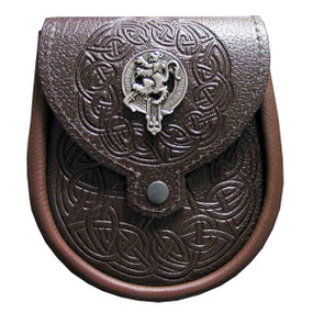 Day Sporran Clan Crest - Brown Leather