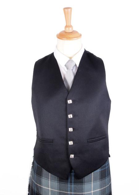 5 Button Black Vest (Waistcoat)
