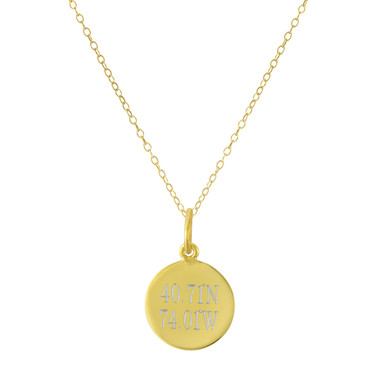 Gold Vermeil Coordinates, Latitude & Longitude, City Abbreviation, Engraved Necklace