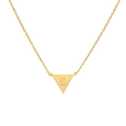 Gold Vermeil, Molly Necklace, Engraved, Upside down triangle, lowercase letter
