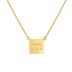 Gold Vermeil, Engraved Necklace, Square, Lowercase