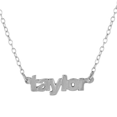 Sterling Silver Mini Nameplate Necklace, Name Necklace, Block Name, Lowercase, Personalized Necklace