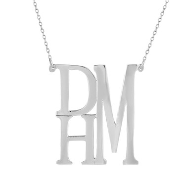 Sterling Silver Stacked Monogram Necklace, Modern Monogram, Block Monogram, Personalized Necklace