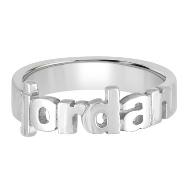 Sterling Silver Name Ring, Cut Out Name, Block, Ring