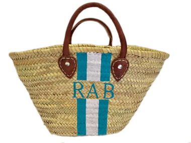 Hand Painted Striped Straw Bag, Personalized, Initials, Leather Handle, Turquoise, White