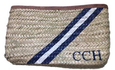 Hand Painted, Stripes, Initials, Straw Clutch