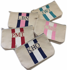 Hand Painted Stripes, Canvas Pouches, Monogram, Initials, Accessory Pouch,