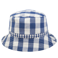 Navy Check Sun Hat
