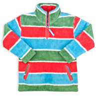 Cosy Zip Neck Fleece in Bright Stripes