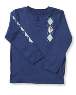 Argyle Jersey V-neck in Blue