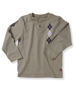 Argyle Jersey V-neck in Khaki Green