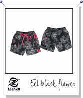 Eel Black Flower Swim Shorts