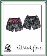 Eel Black Flower Swim Shorts