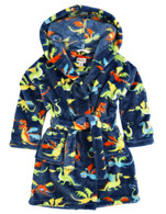 DRAGONS Fuzzy Fleece Robe, Navy/Multi-Print