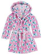 ICY BUTTERFLIES Fuzzy Fleece Robe, Pink/Multi-Print