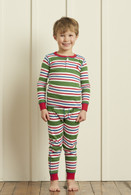 Green Stripes Henley Pajama Set
