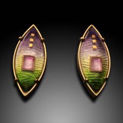 Modern Enamel Jewelry, Sunrise Earrings by Amy Roper Lyons