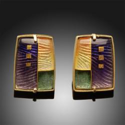 Art Enamel Jewelry, Morning Landscape Earrings by Amy Roper Lyons, Modern Cloisonne Jewelry
