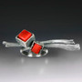 Art Jewelry, Cubeberry Ring with Red Coral by Aleksandra Vali