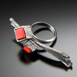 Cubeberry Ring with Red Coral, Art Jewelry by Aleksandra Vali