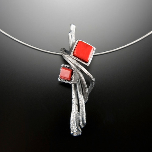Cubeberry Pendant with RE\ed Coral, Art Jewelry by Aleksandra Vali