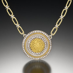 Large Circle of Light Necklace, Fine Art Jewelry by CORNELIA GOLDSMITH