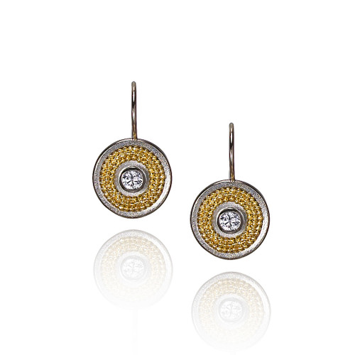 White Gold Disc Earrings, Fine Art Jewelry by CORNELIA GOLDSMITH