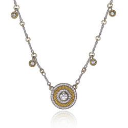 Diamond Dangle Disk Necklace, Fine Art Jewelry by CORNELIA GOLDSMITH