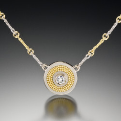 Cornelia Goldsmith's 18 Karat White Gold Disc Necklace (v2) | 22 Karat Yellow Gold Granulation | Fine Art Jewelry