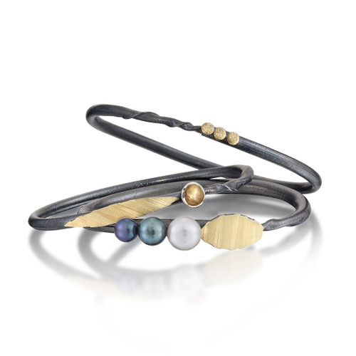 Black Twig Pearl Bracelets, Art Jewelry by Christine Mackellar