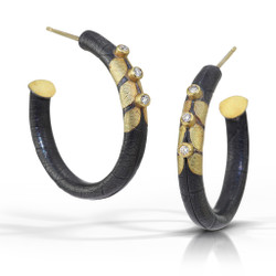 Diamond Hoop Earrings, Art Jewelry by Christine Mackellar