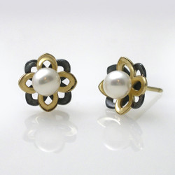 Moire Mini Flower Pearl Studs, Modern Jewelry by Keiko Mita