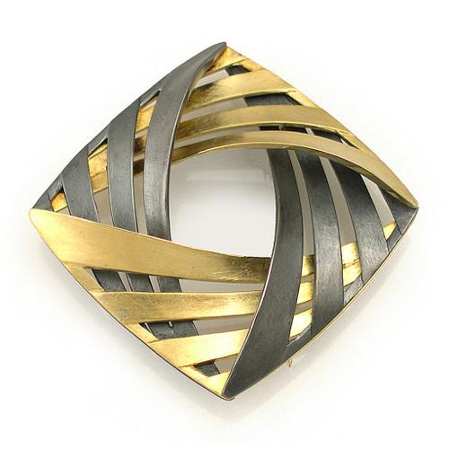 Moire Interwoven Pin/Pendant, Modern Jewelry by Keiko Mita