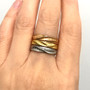 Sand Dune Stackable Rings on hand, Fine Art Jewelry by Keiko Mita