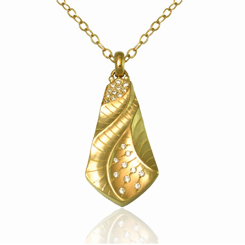 Sand Dune Kite Pendant Yellow Gold, Fine Art Jewelry by Keiko Mita